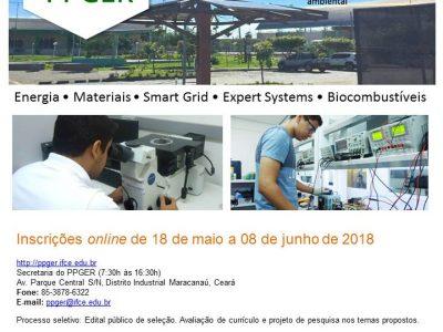 Processo seletivo para a Turma 2018.2 do Mestrado Acadêmico em Energias Renováveis