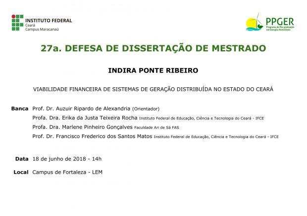 27ª Defesa de Dissertação do PPGER