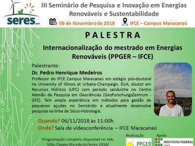 """PALESTRA """"Internacionalização do PPGER"""""""