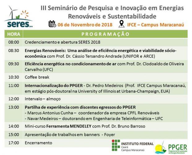 III Seminário de Pesquisa e Inovação e Energias Renováveis e Sustentabilidade – SERES 2018