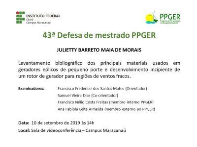 43ª Defesa de dissertação PPGER